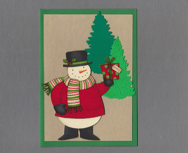 Handmade Fabric Snowman with Gift Christmas Blank Greeting Card
