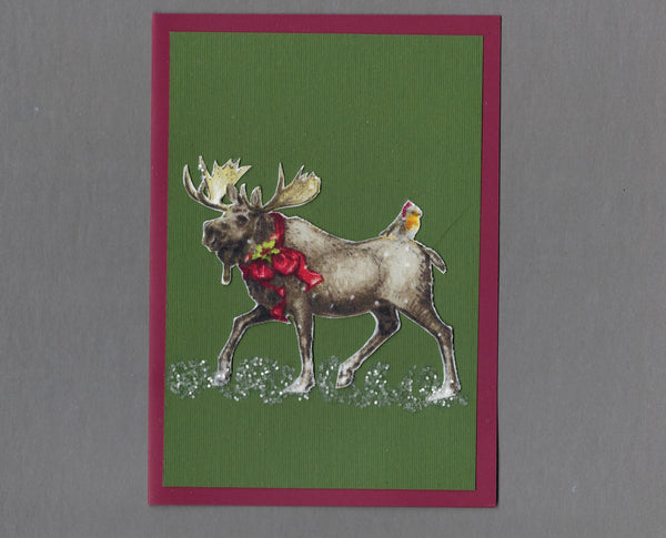 Handmade Fabric Moose Giving a Santa Robin a Ride Christmas Holiday Blank Greeting Card
