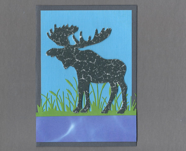 Handmade Fabric Bull Moose in Cattails Blank Greeting Card