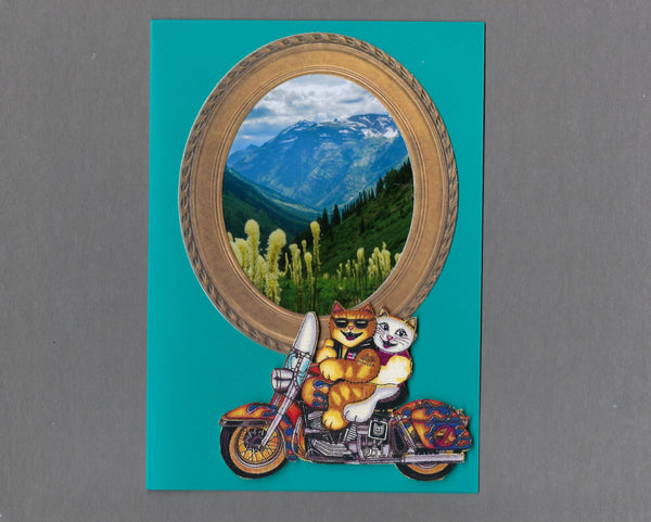 Handmade Fabric Biker Cats Cute Couple Cat Blank Greeting Card