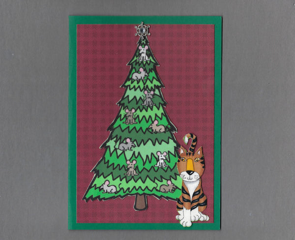 Handmade Fabric Mouse Tree Brown Tabby Cat Christmas Blank Greeting Card
