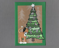 Handmade Fabric Mouse Tree Calico Cat Christmas Blank Greeting Card