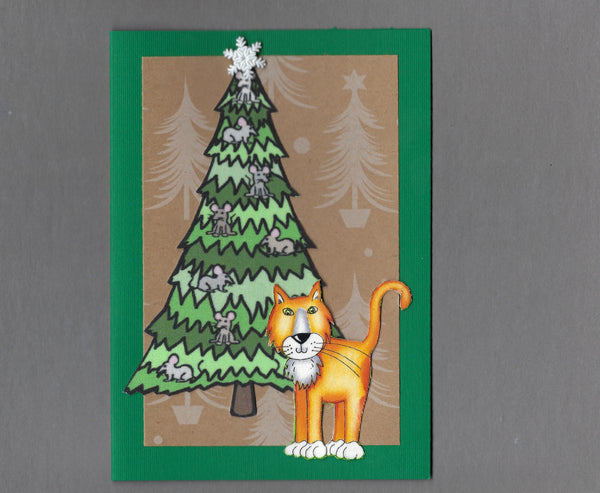 Handmade Fabric Mouse Tree Ginger Cat Christmas Blank Greeting Card