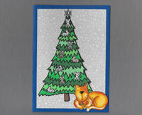 Handmade Fabric Mouse Tree Ginger Napping Cat Christmas Blank Greeting Card