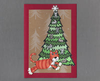 Handmade Fabric Mouse Tree Orange Tabby Cat Christmas Blank Greeting Card