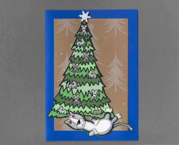 Handmade Fabric Mouse Tree Rolling Gray Cat Christmas Blank Greeting Card