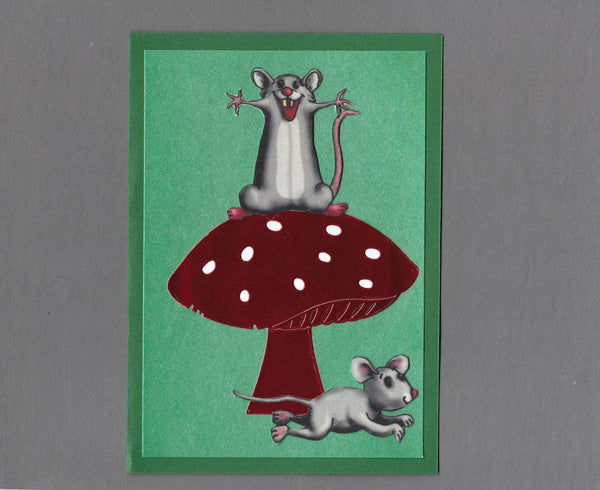 Handmade Fabric Crazy Mouse Friends Blank Greeting Card