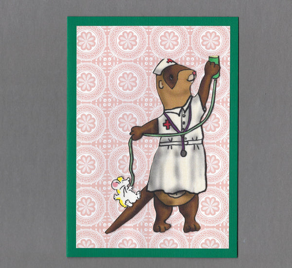 Handmade Fabric Ferret Nurse Thank You Blank Greeting Card