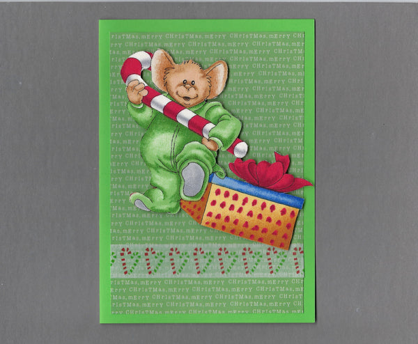 Handmade Fabric Mouse with Giant Candy Cane Christmas Blank Greeting Card