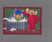 Handmade Fabric Mouse Hiding Little Brother Christmas Blank Greeting Card