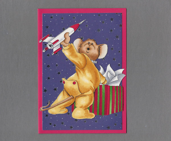 Handmade Fabric Mouse Playing with Rocket Ship Christmas Blank Greeting Card
