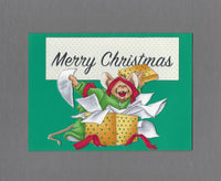 Handmade Fabric Mouse Playing in Tissue Paper Christmas Blank Greeting Card