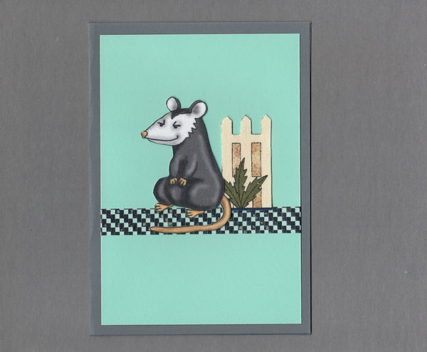 Handmade Fabric Opossum in the Fence Blank Greeting Card