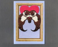 Handmade Fabric Otters in Love Blank Greeting Card