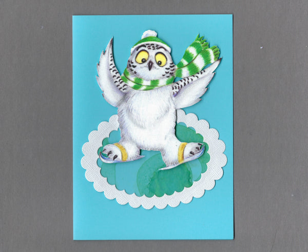Handmade Fabric Ice Skating Owl Holiday Christmas Blank Greeting Card