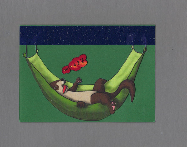 Handmade Fabric Passed Out Ferret Blank Greeting Card