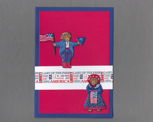 Handmade Fabric Patriotic Teddy Bear 4th of July Blank Greeting Card