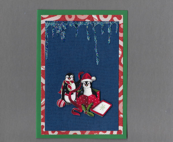 Handmade Fabric Peppermint Penguin Box of Fun Christmas Blank Greeting Card