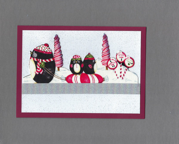 Handmade Fabric Peppermint Penguin Family Fun Christmas Blank Greeting Card