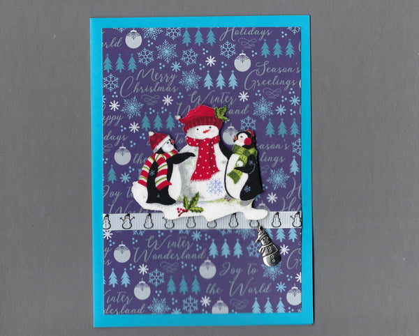 Handmade Fabric Peppermint Penguins Building Snowman Christmas Blank Greeting Card