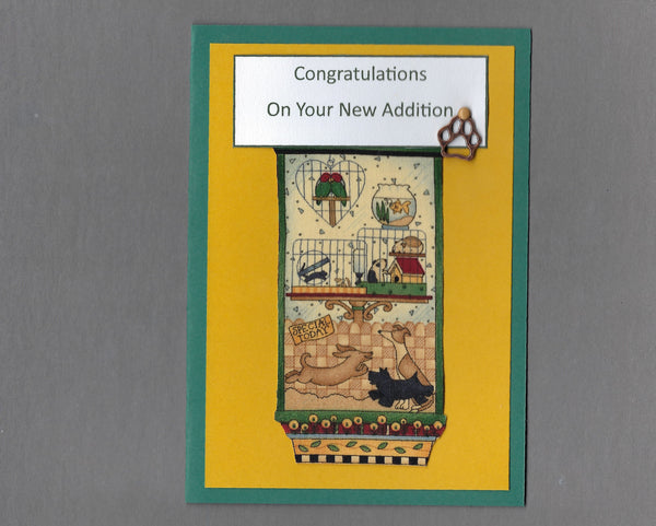 Handmade Fabric Pet Shoppe New Addition Blank Greeting Card