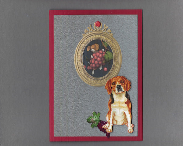 Handmade Fabric Picture Perfect Beagle Dog Blank Greeting Card