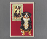 Handmade Fabric Picture Perfect Bernese Mountain Dog Blank Greeting Card