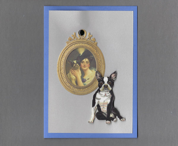Handmade Fabric Picture Perfect Boston Terrier Dog Blank Greeting Card