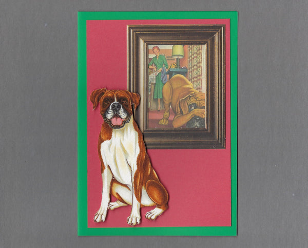 Handmade Fabric Picture Perfect Boxer Dog Blank Greeting Card
