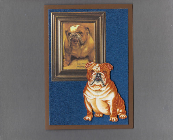 Handmade Fabric Picture Perfect English Bulldog Dog Blank Greeting Card