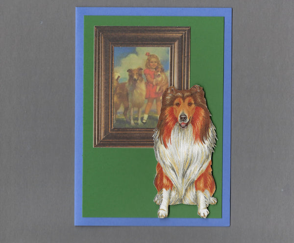 Handmade Fabric Picture Perfect Collie Dog Blank Greeting Card