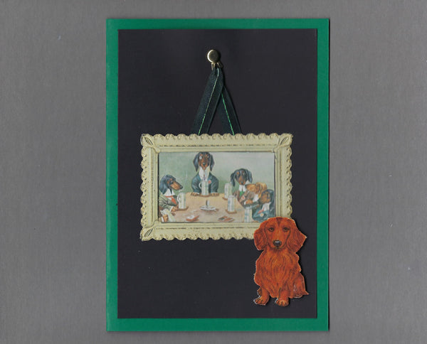 Handmade Fabric Picture Perfect Dachshund Doxie Dog Blank Greeting Card