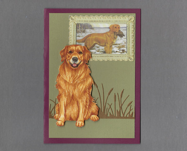 Handmade Fabric Picture Perfect Golden Retriever Blank Greeting Card