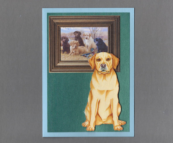 Handmade Fabric Picture Perfect Labrador Retriever Dog Blank Greeting Card