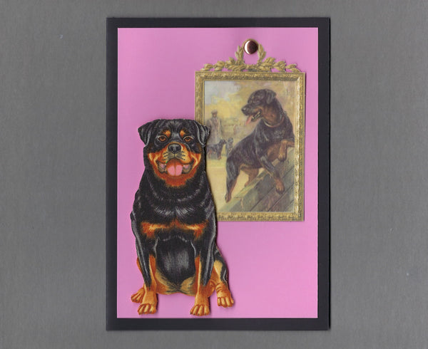 Handmade Fabric Picture Perfect Rottweiler Dog Blank Greeting Card