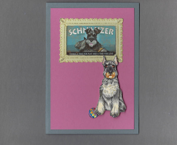 Handmade Fabric Picture Perfect Schnauzer Dog Blank Greeting Card