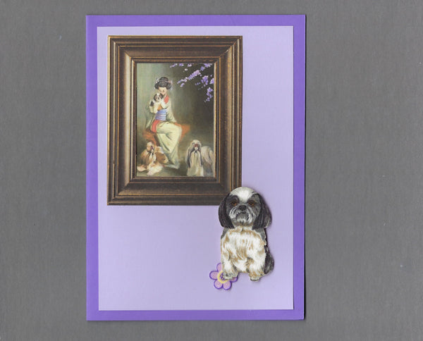 Handmade Fabric Picture Perfect Shih Tzu Dog Blank Greeting Card