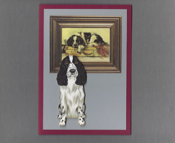 Handmade Fabric Picture Perfect Springer Spaniel Dog Blank Greeting Card