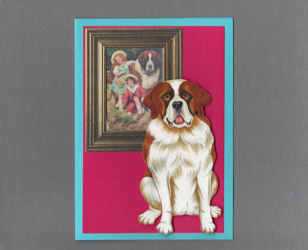 Handmade Fabric Picture Perfect Saint Bernard Dog Blank Greeting Card