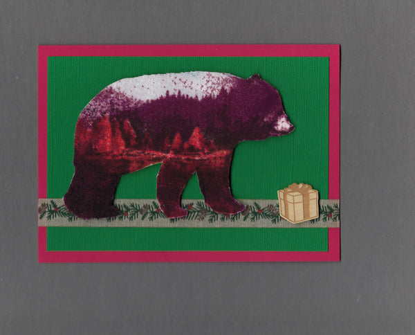 Handmade Flannel Fabric Superimposed Gift Bear Christmas Holiday Blank Greeting Card