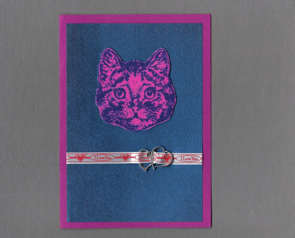 Handmade Fabric Pink Flannel Love Cat Love Valentine's Day Blank Greeting Card