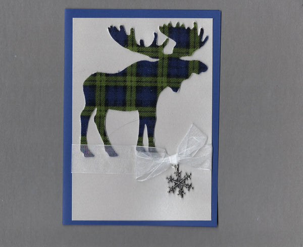 Handmade Fabric Plaid Moose Christmas Holiday Blank Greeting Card