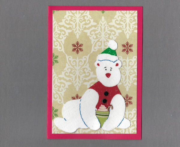 Handmade Fabric Coffee Drinking Polar Bear Holiday Christmas Blank Greeting Card