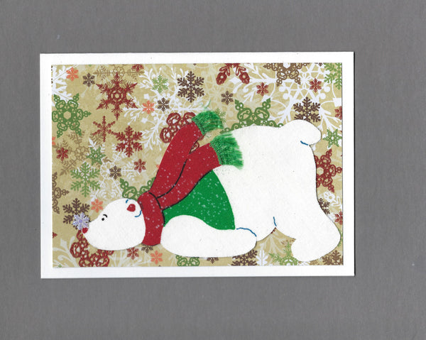 Handmade Fabric Polar Bear with Cold Nose Holiday Christmas Blank Greeting Card