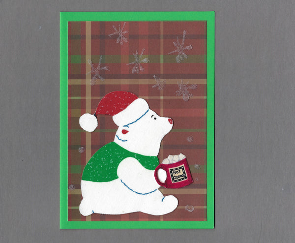 Handmade Fabric Hot Cocoa Drinking Polar Bear Holiday Christmas Blank Greeting Card