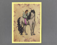 Handmade Fabric Pony Ride Ferret Blank Greeting Card