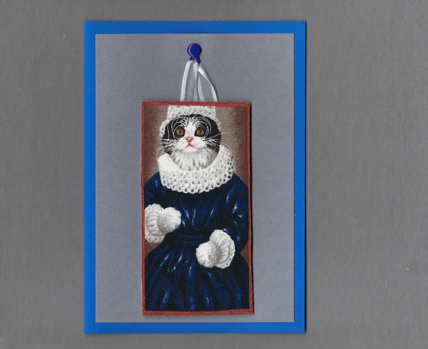 Handmade Fabric Portraits Black & White Elizabethan Cat Blank Greeting Card