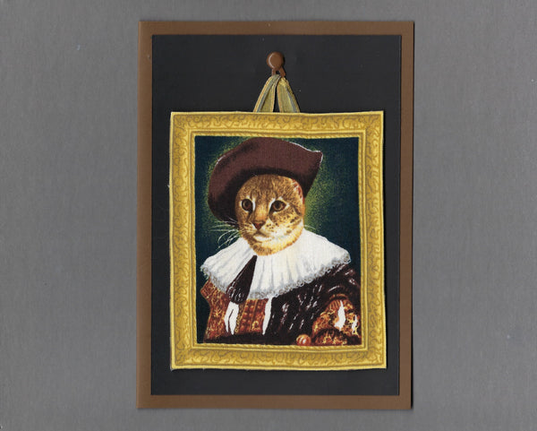 Handmade Fabric Portraits Brown Tabby Royal Cat Blank Greeting Card