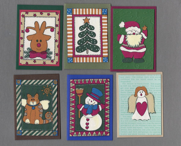 Handmade Fabric Primitive Squares Christmas Blank Gift Enclosure Set