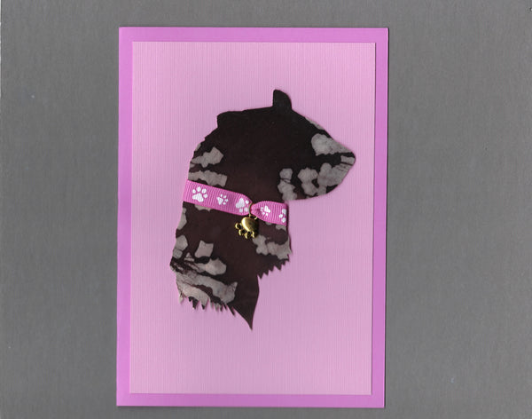 Handmade Fabric Sable Ferret Profile Ferret Pink Blank Greeting Card